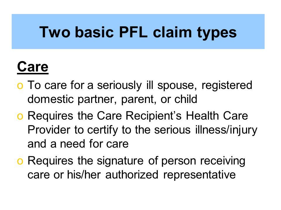 Two basic PFL claim types