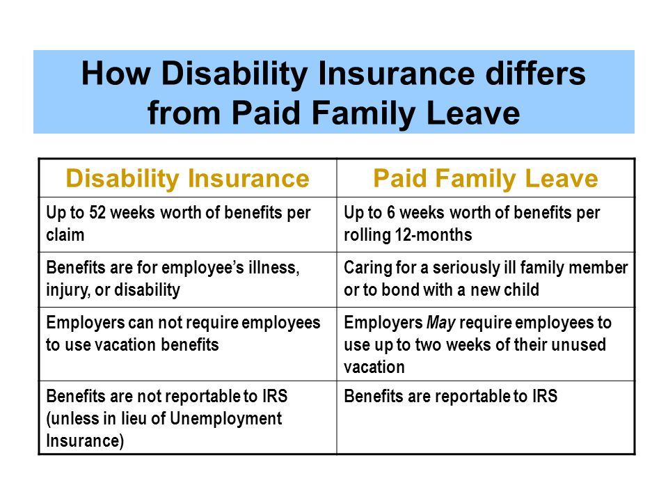 How Disability Insurance differs from Paid Family Leave
