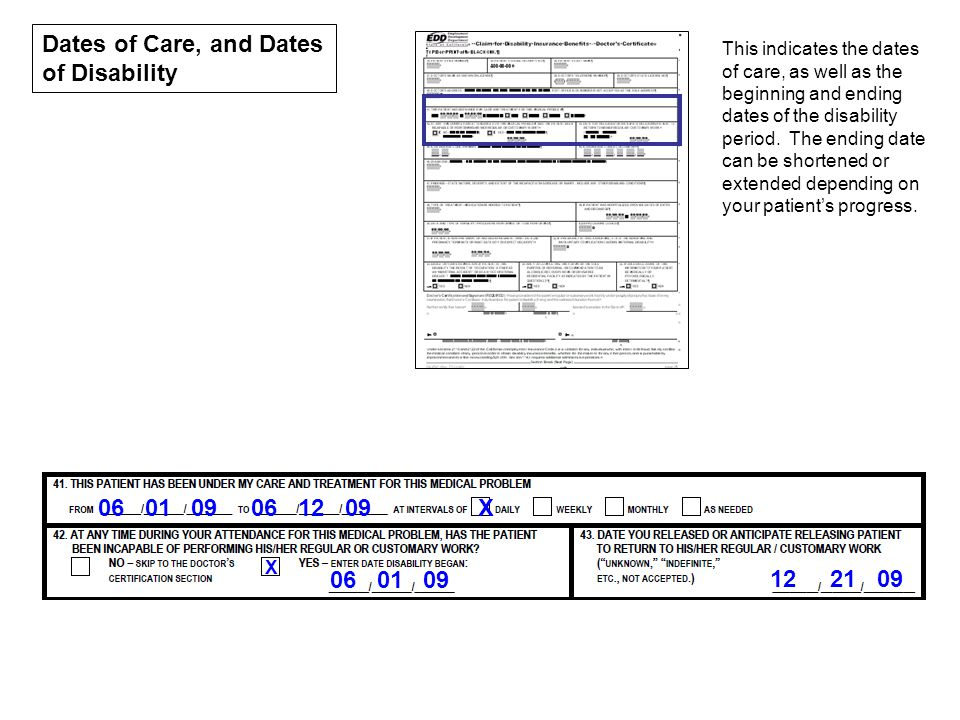 Dates of Care, and Dates of Disability
