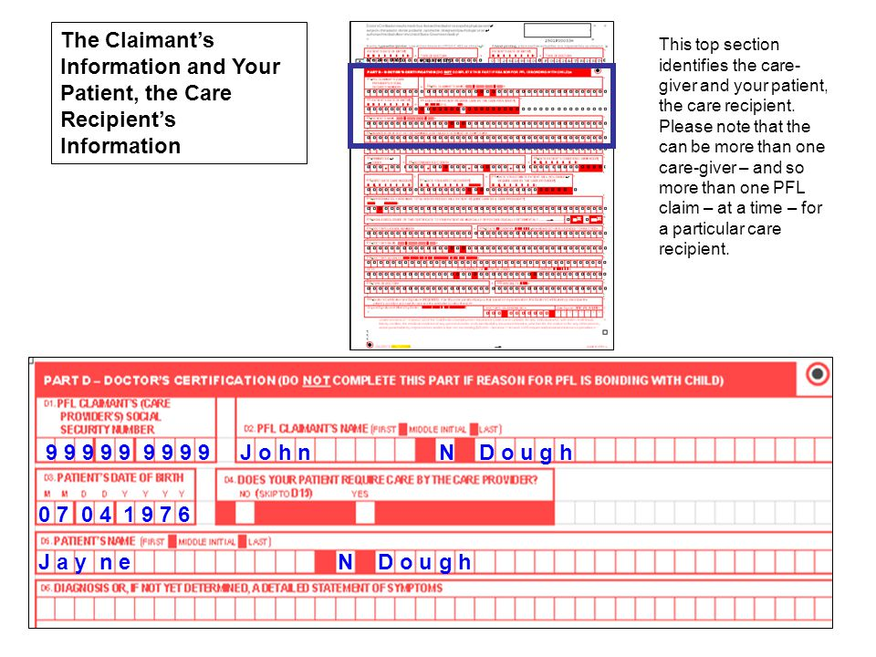 The Claimant's Information and Your Patient, the Care Recipient's Information