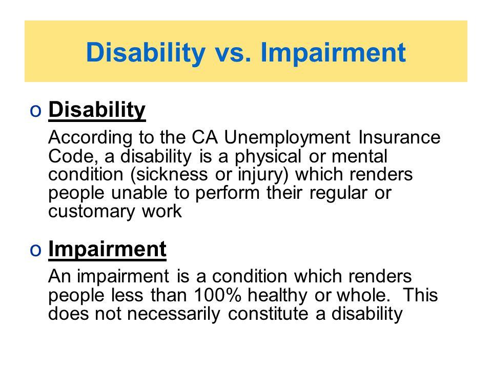 Disability vs. Impairment