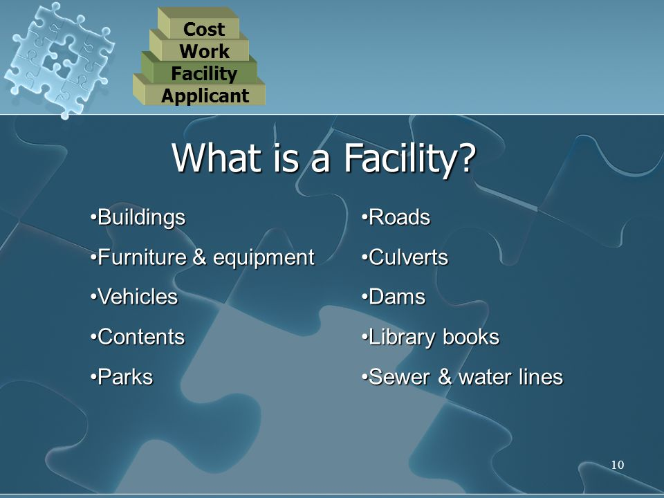 What is a Facility Buildings Furniture & equipment Vehicles Contents
