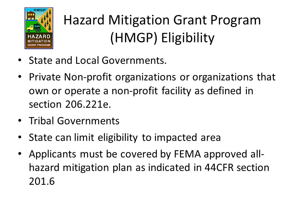 Hazard Mitigation Grant Program (HMGP) Eligibility
