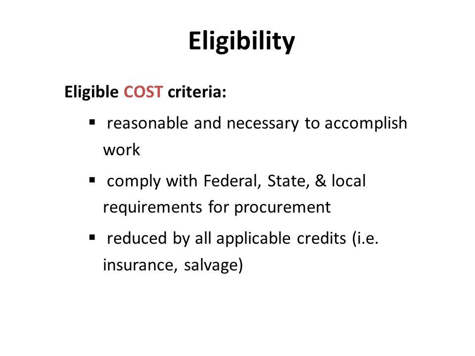 Eligibility Eligible COST criteria: