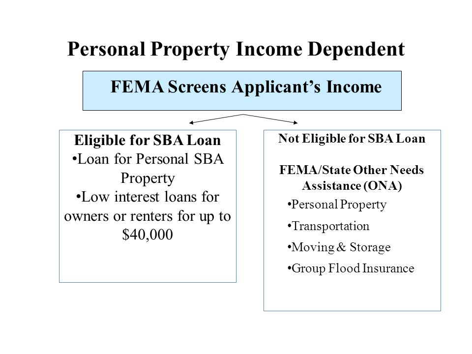 Not Eligible for SBA Loan FEMA/State Other Needs Assistance (ONA)