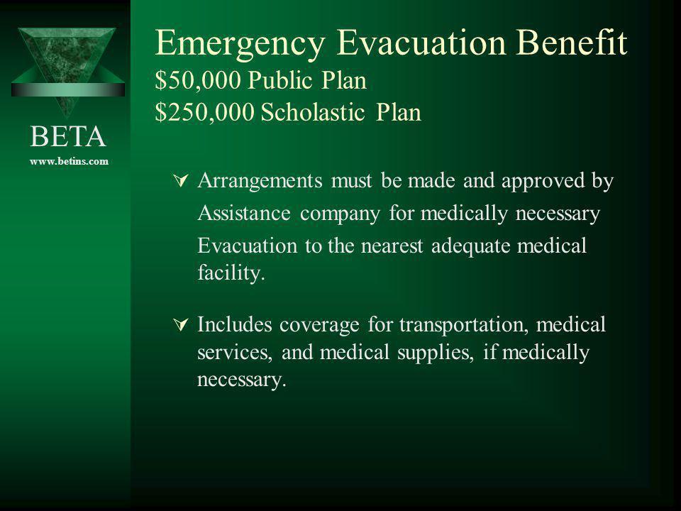 Emergency Evacuation Benefit $50,000 Public Plan $250,000 Scholastic Plan