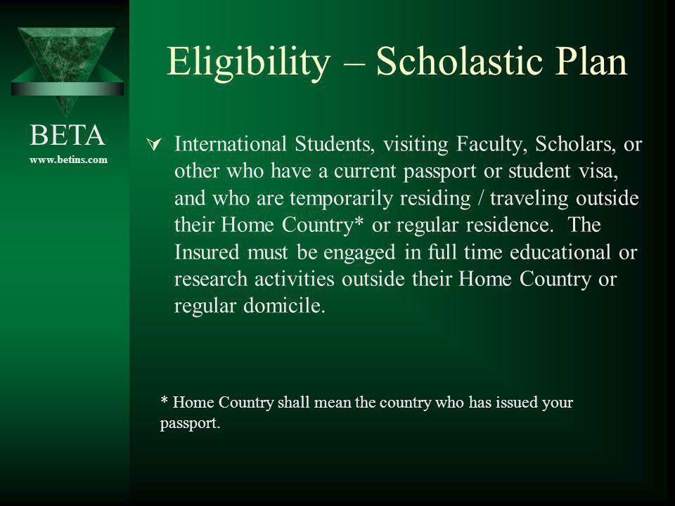 Eligibility – Scholastic Plan
