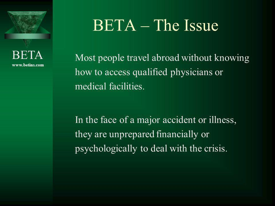 BETA – The Issue Most people travel abroad without knowing how to access qualified physicians or medical facilities.