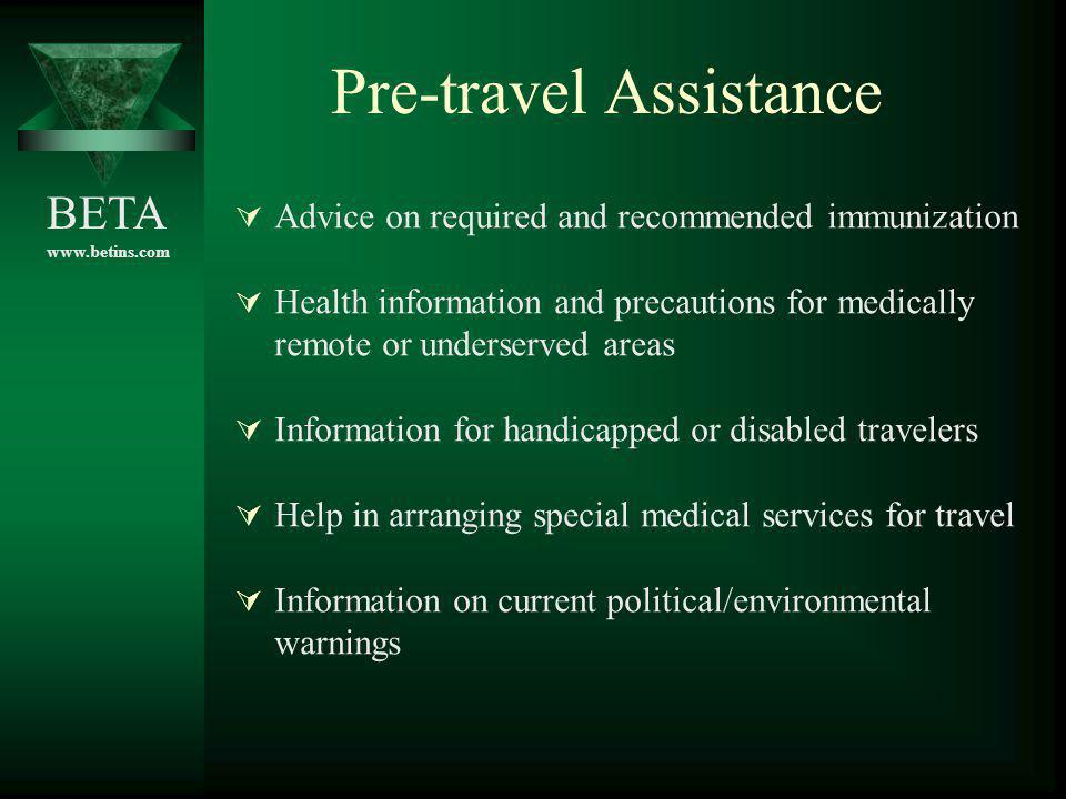 Pre-travel Assistance