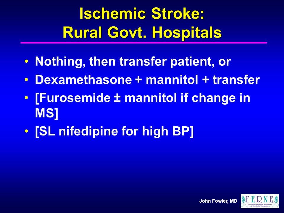 Ischemic Stroke: Rural Govt. Hospitals