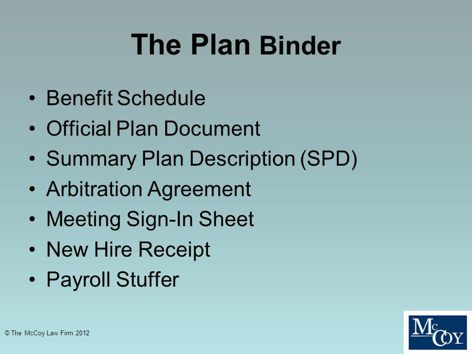 The Plan Binder Benefit Schedule Official Plan Document