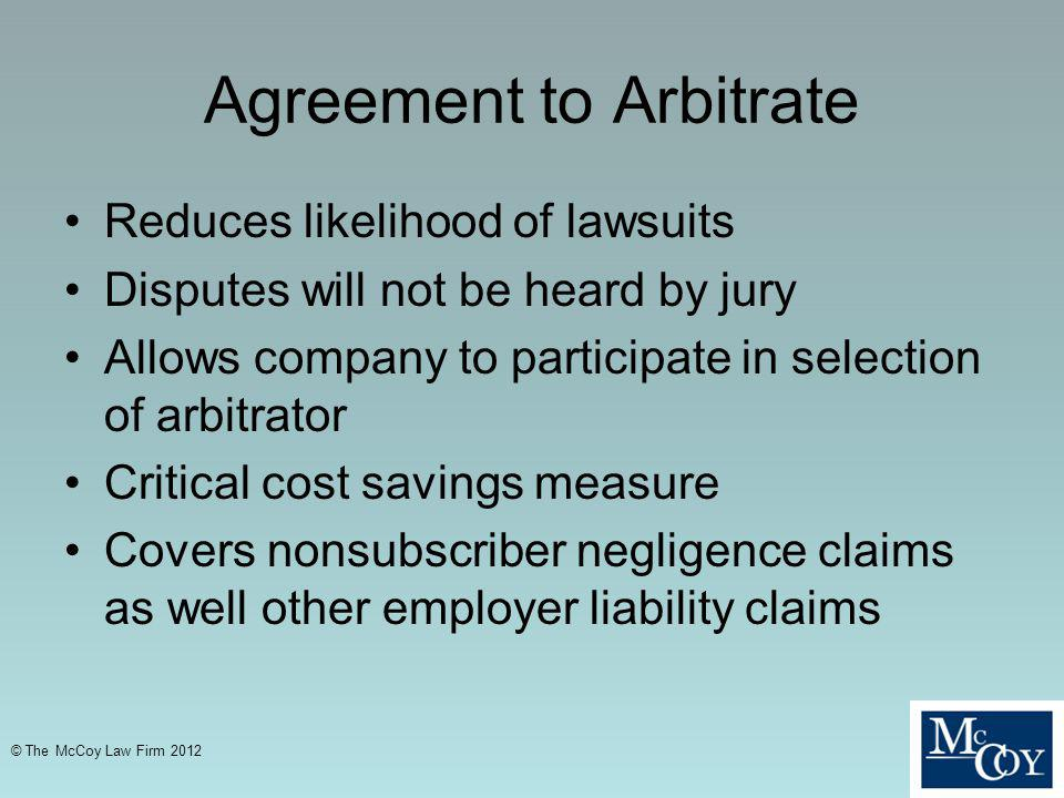 Agreement to Arbitrate