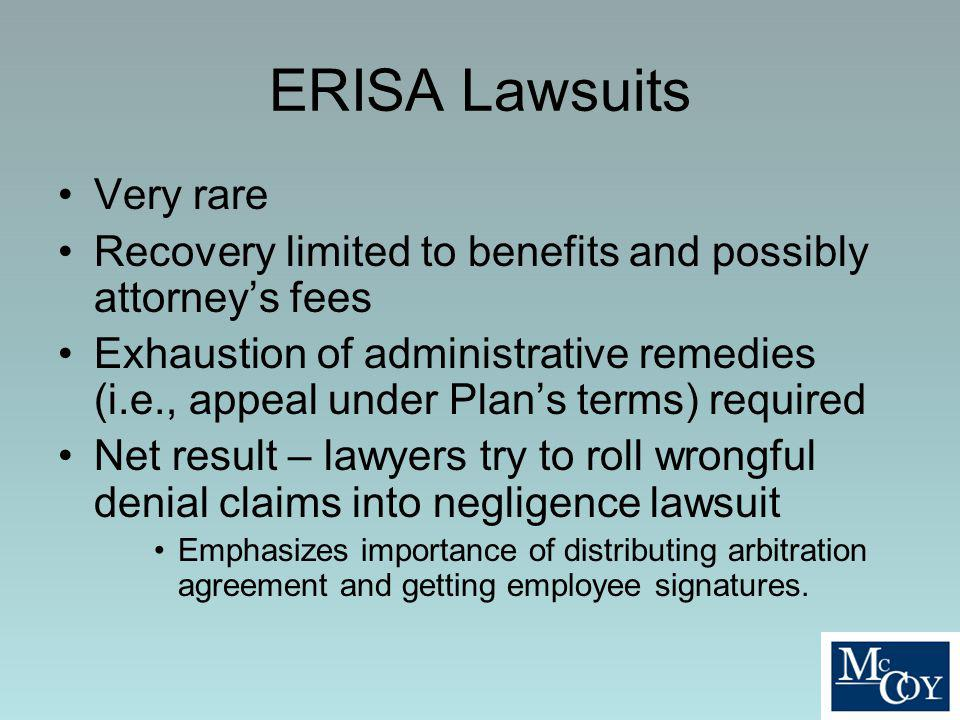ERISA Lawsuits Very rare