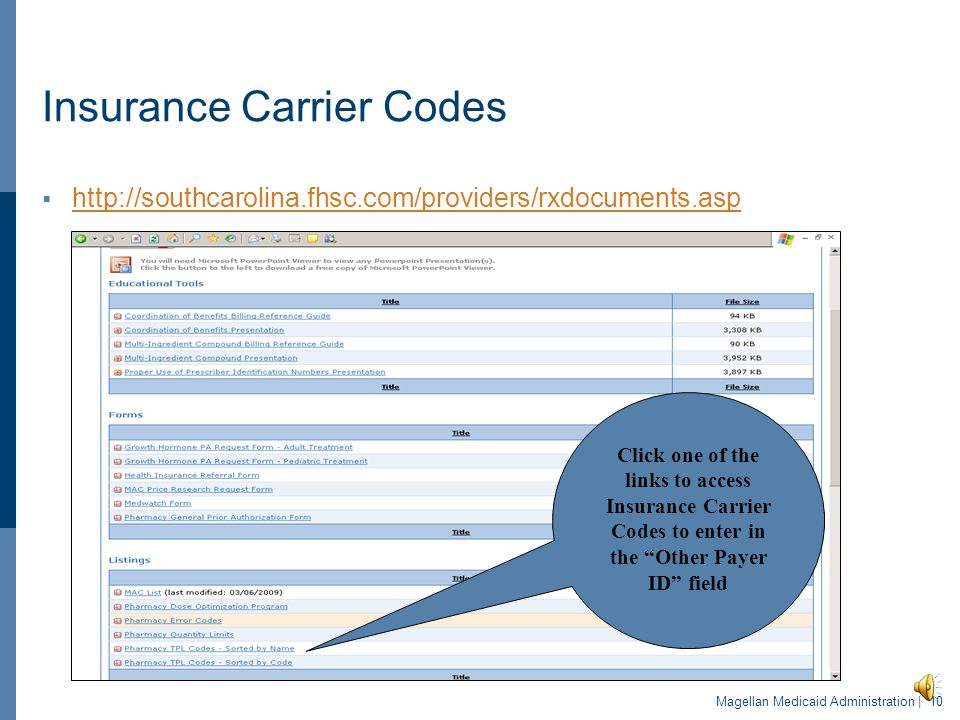 Insurance Carrier Codes