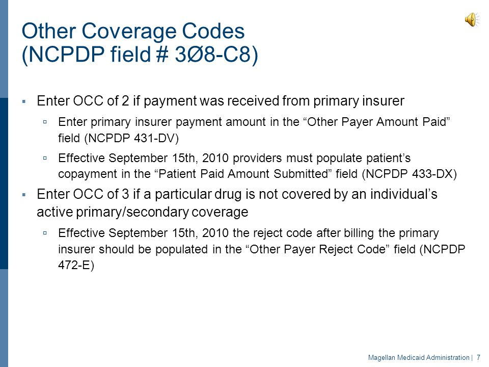 Other Coverage Codes (NCPDP field # 3Ø8-C8)
