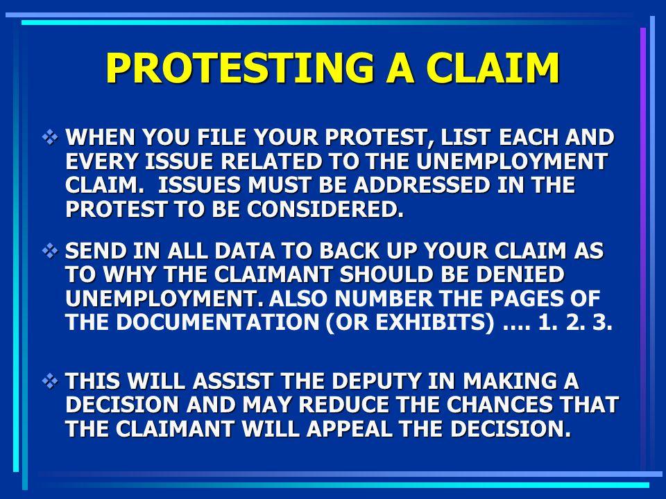 PROTESTING A CLAIM
