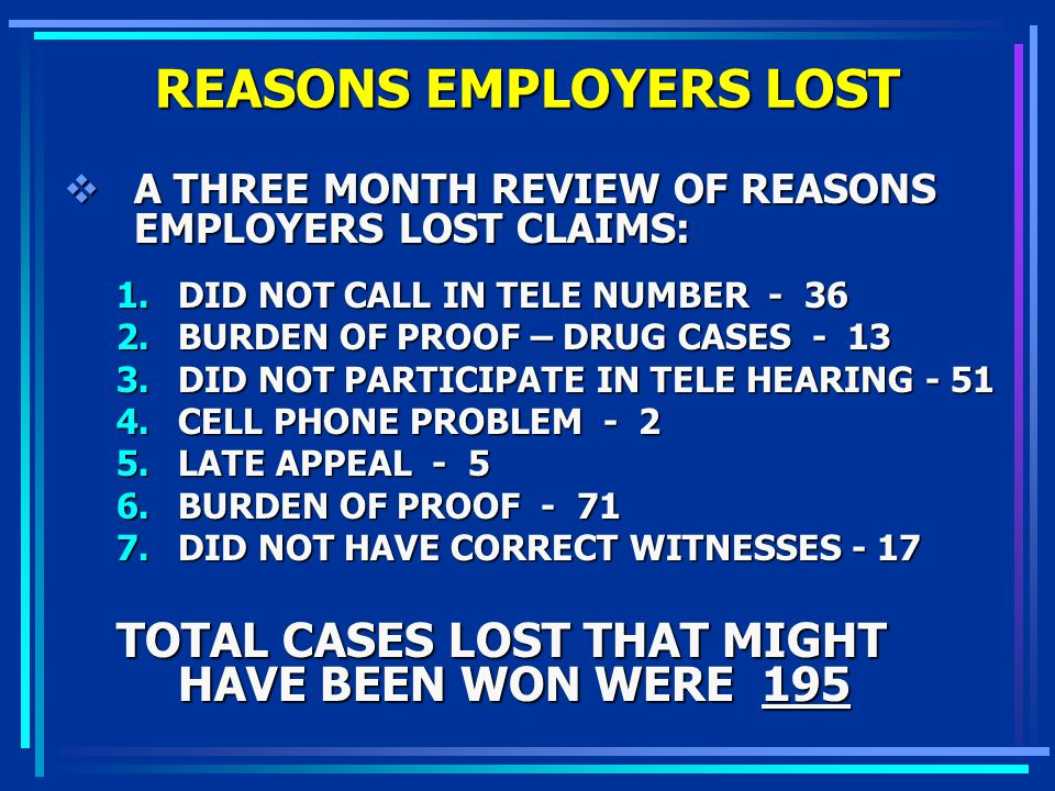 REASONS EMPLOYERS LOST