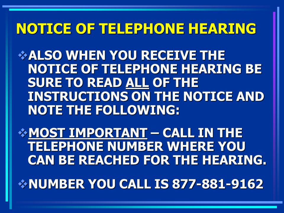 NOTICE OF TELEPHONE HEARING