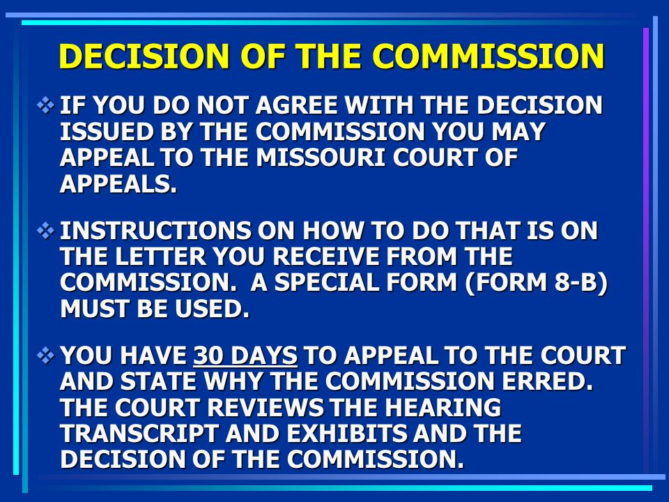 DECISION OF THE COMMISSION