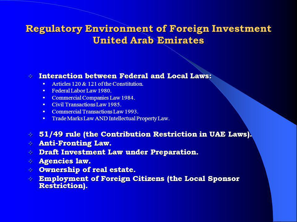 Regulatory Environment of Foreign Investment United Arab Emirates