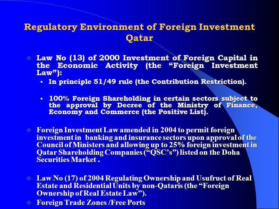 Regulatory Environment of Foreign Investment Qatar