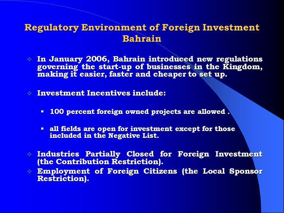 Regulatory Environment of Foreign Investment Bahrain