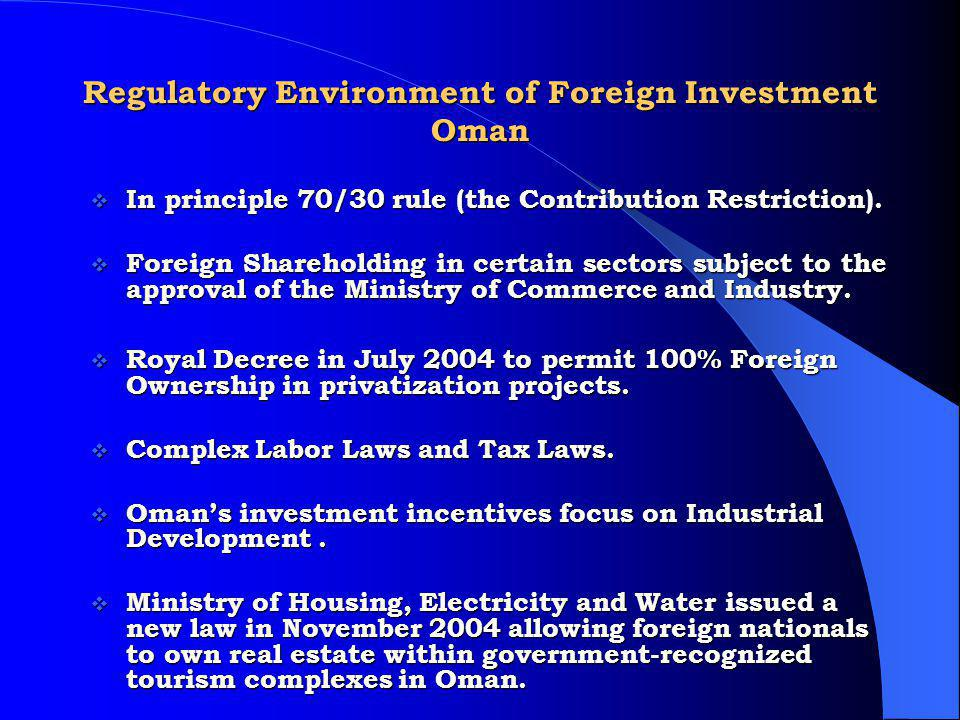 Regulatory Environment of Foreign Investment Oman