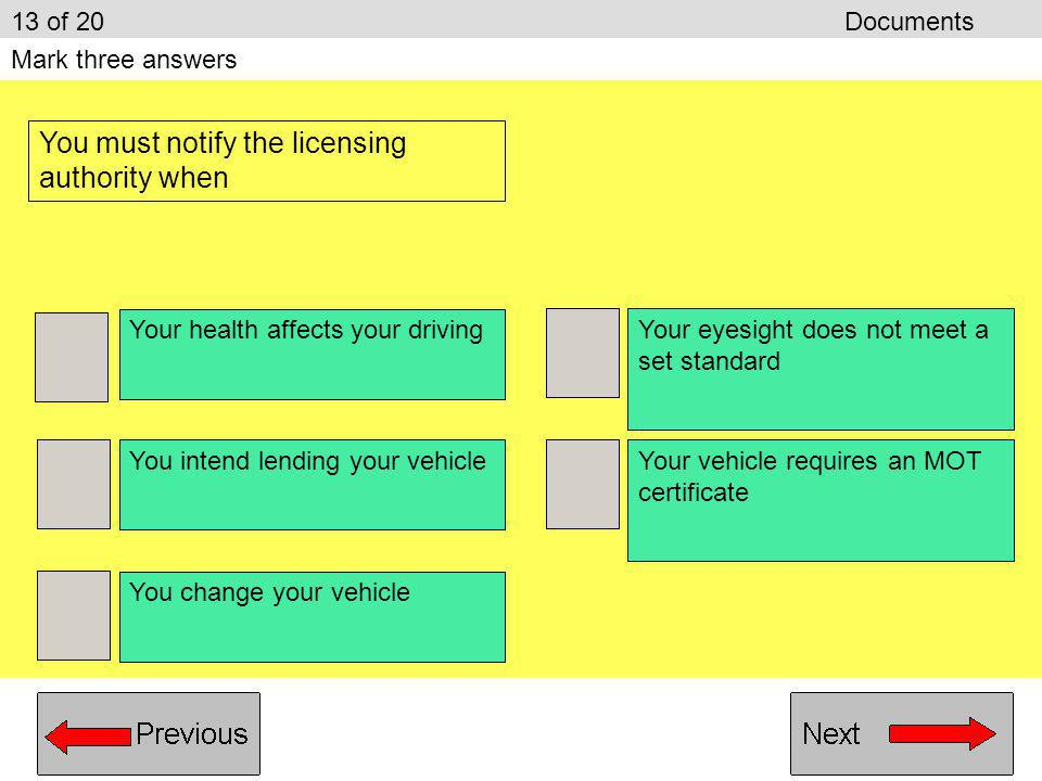 You must notify the licensing authority when