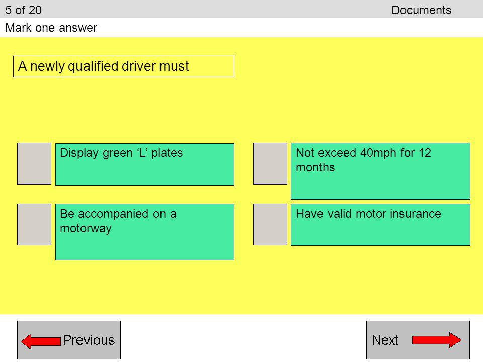 A newly qualified driver must