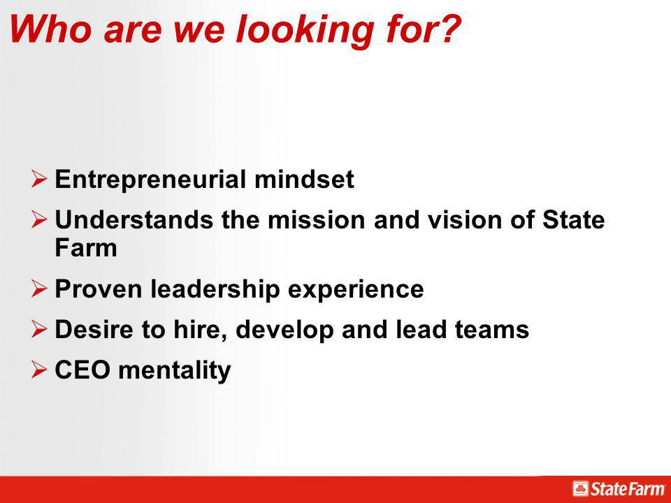 Who are we looking for Entrepreneurial mindset