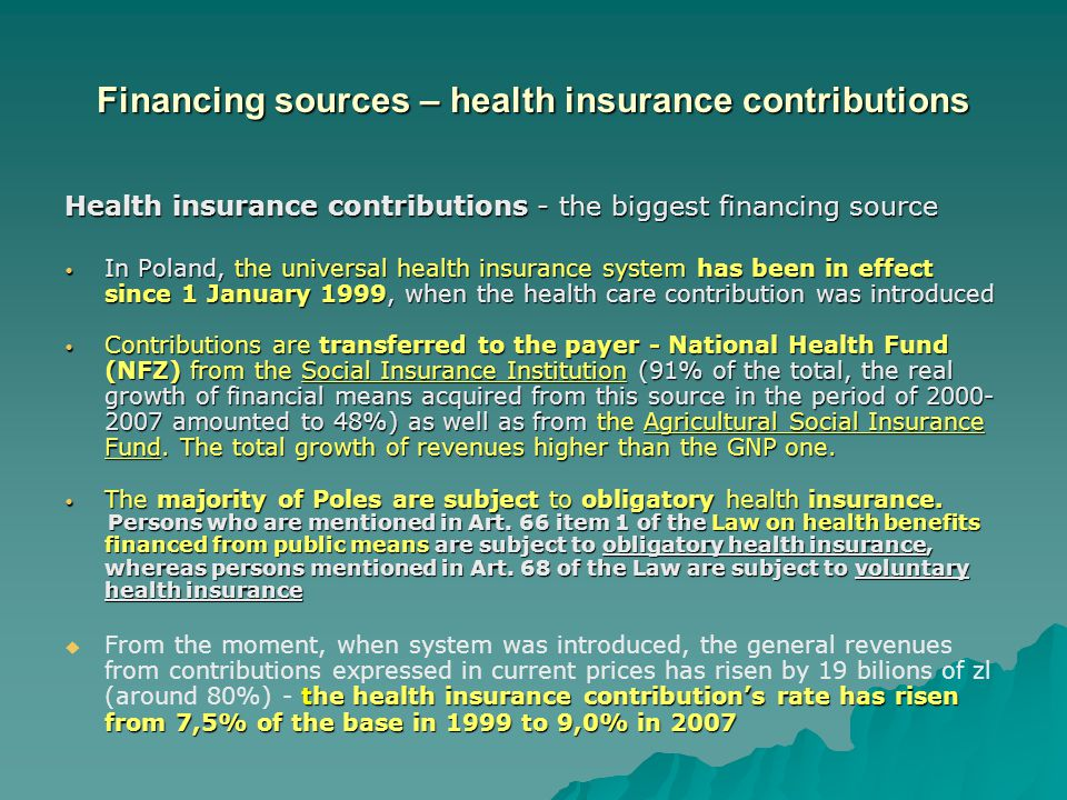 Financing sources – health insurance contributions