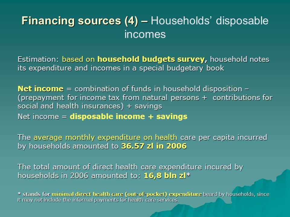 Financing sources (4) – Households' disposable incomes