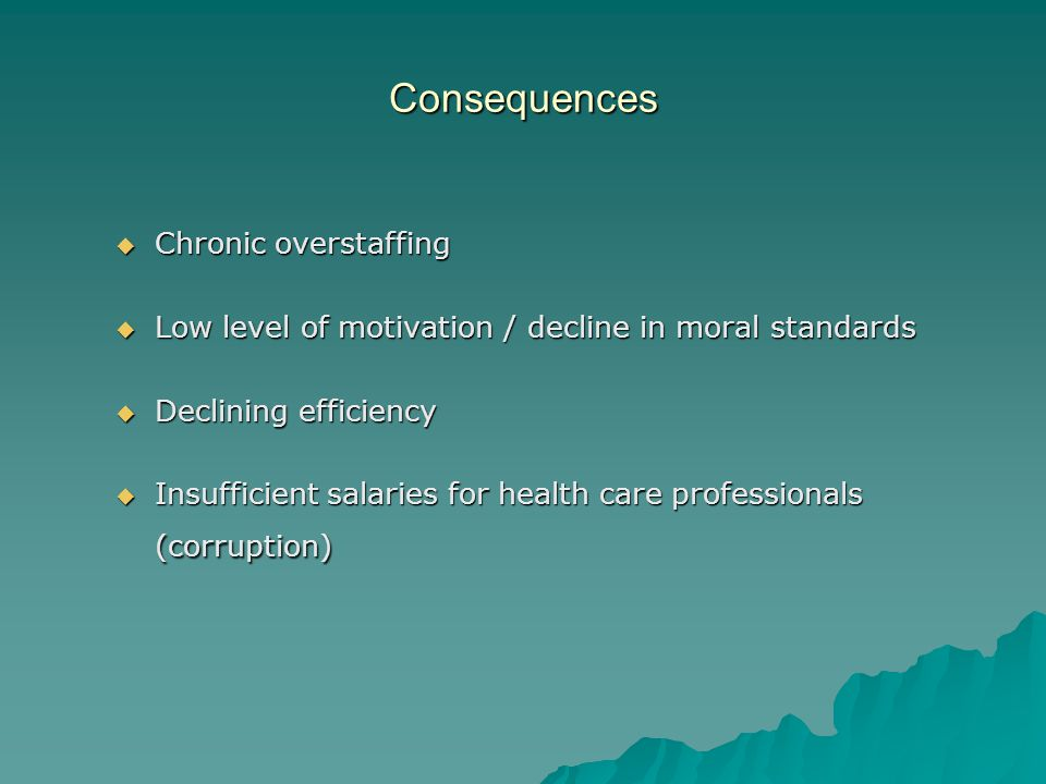 Consequences Chronic overstaffing