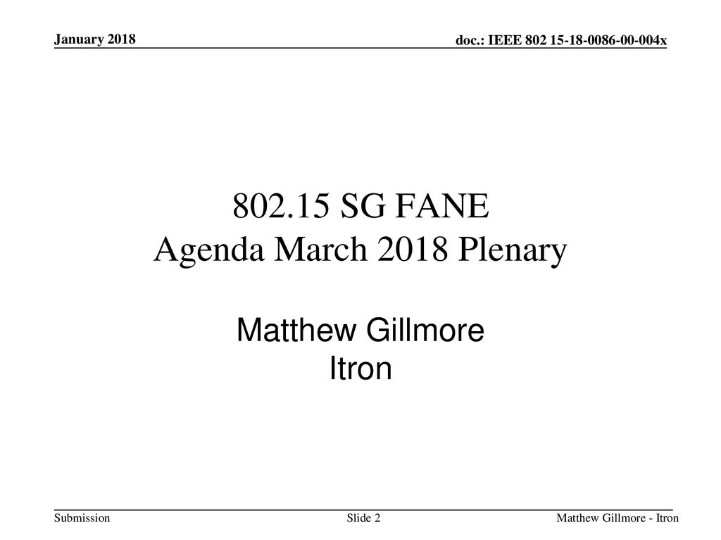 SG FANE Agenda March 2018 Plenary