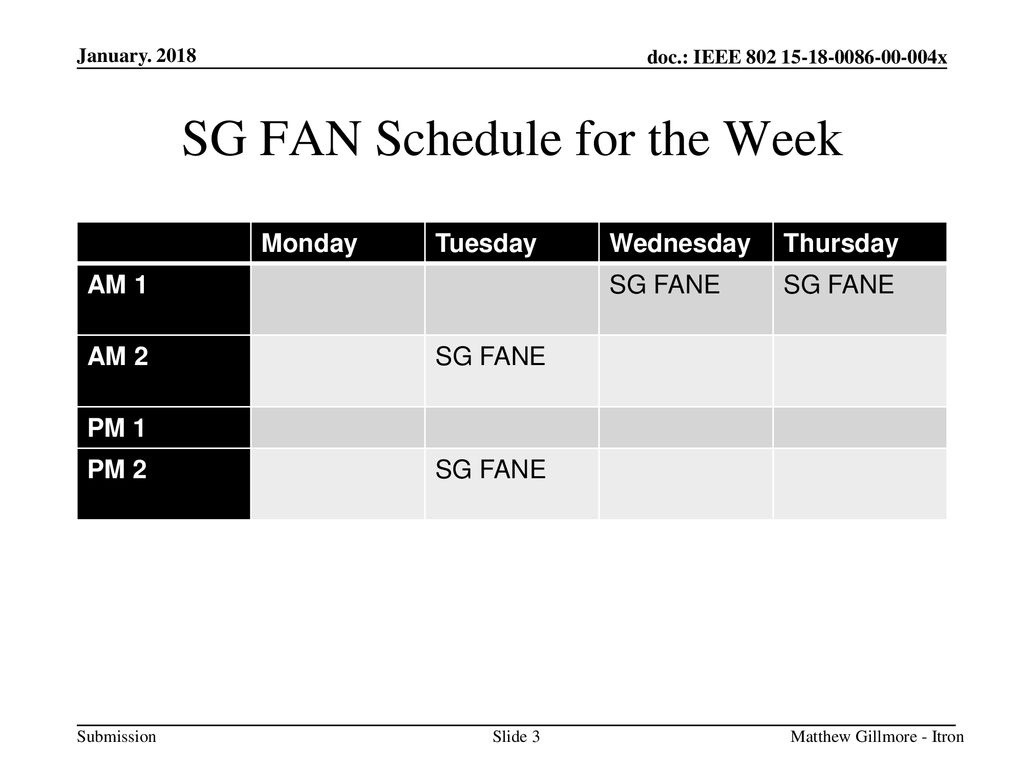SG FAN Schedule for the Week