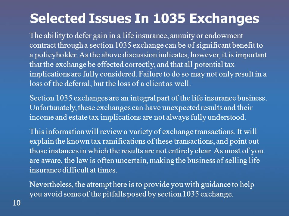 Selected Issues In 1035 Exchanges