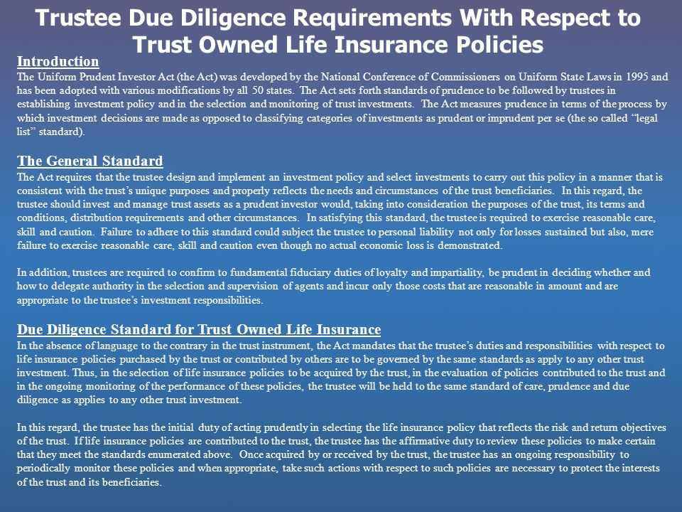 Trustee Due Diligence Requirements With Respect to