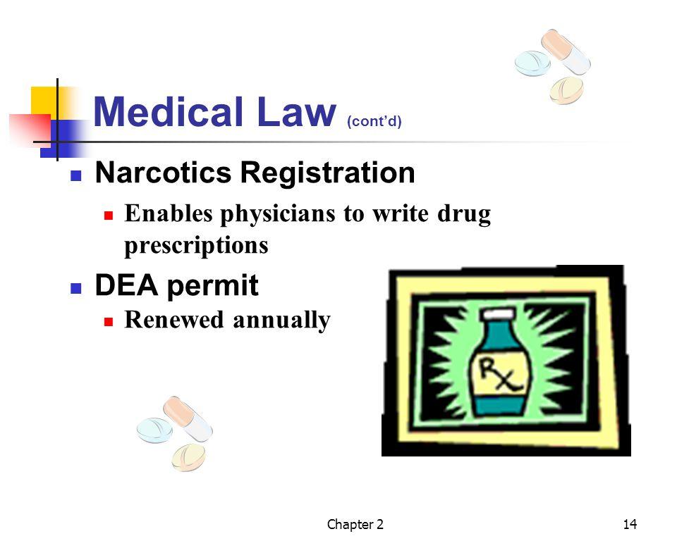 Medical Law (cont'd) Narcotics Registration DEA permit