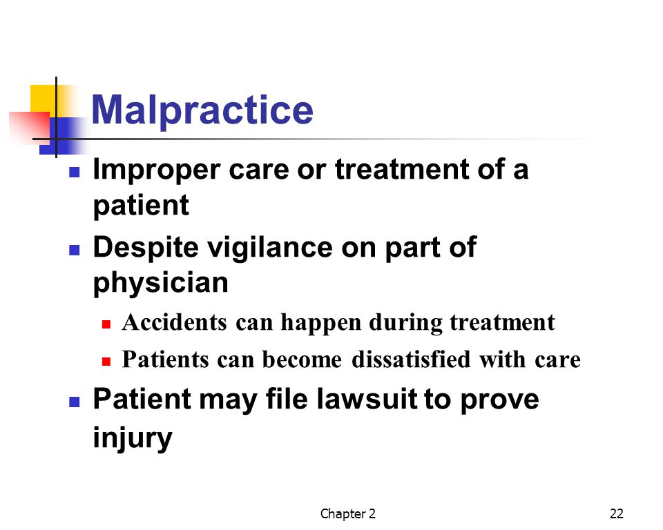 Malpractice Improper care or treatment of a patient