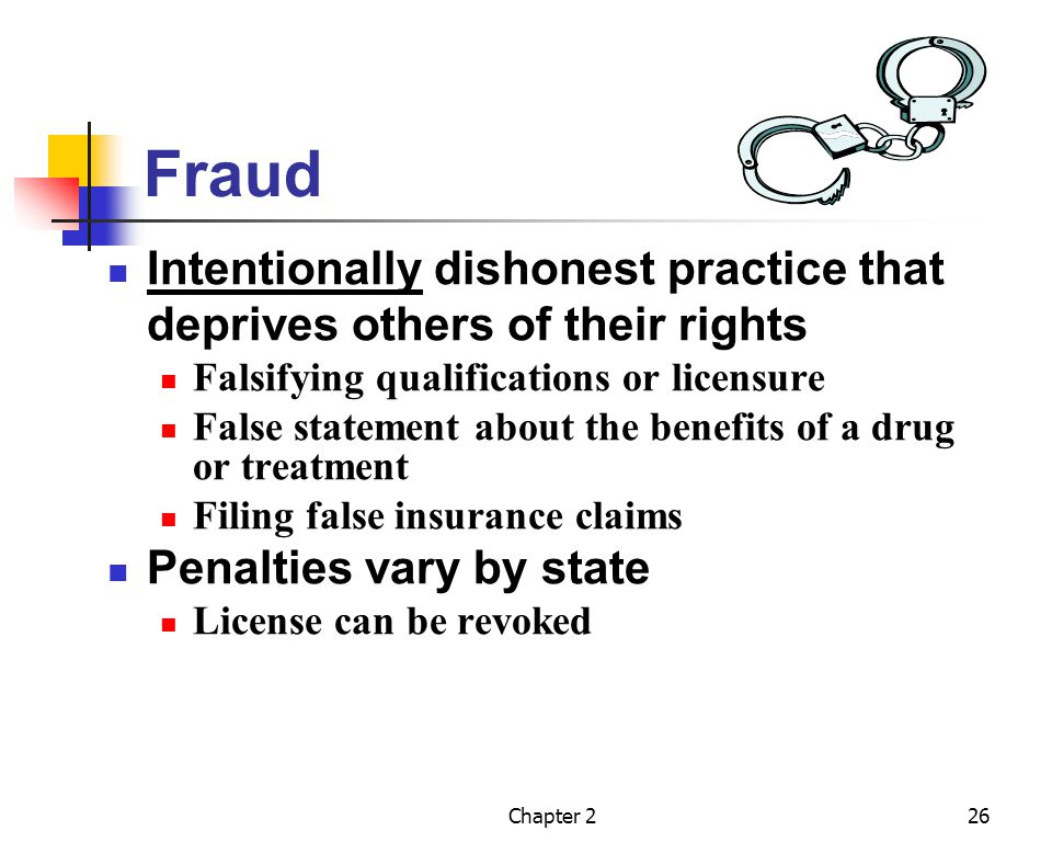 Fraud Intentionally dishonest practice that deprives others of their rights. Falsifying qualifications or licensure.