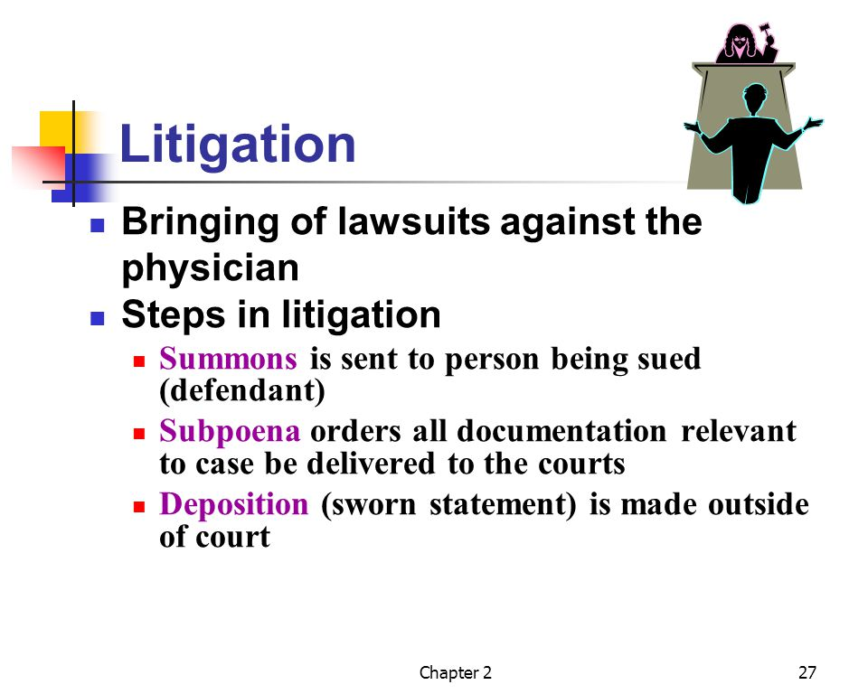 Litigation Bringing of lawsuits against the physician