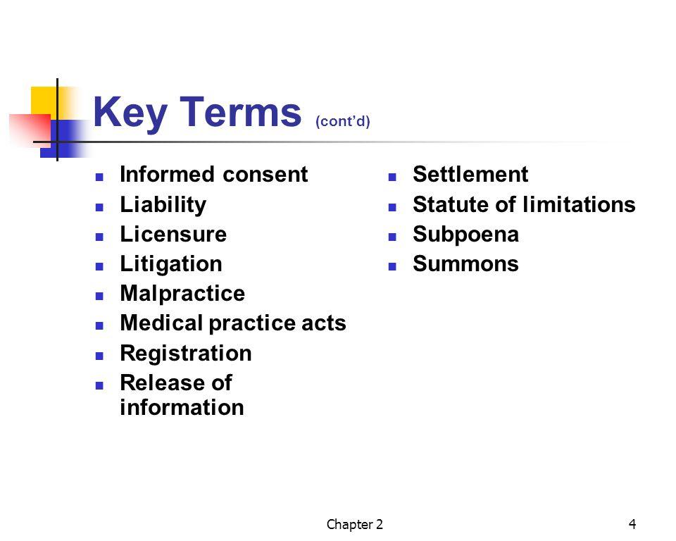 Key Terms (cont'd) Informed consent Liability Licensure Litigation