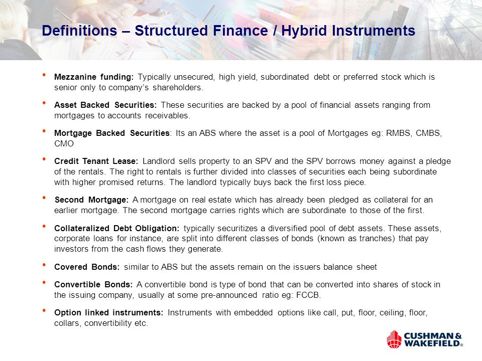 Definitions – Structured Finance / Hybrid Instruments