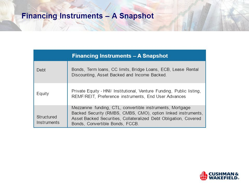 Financing Instruments – A Snapshot