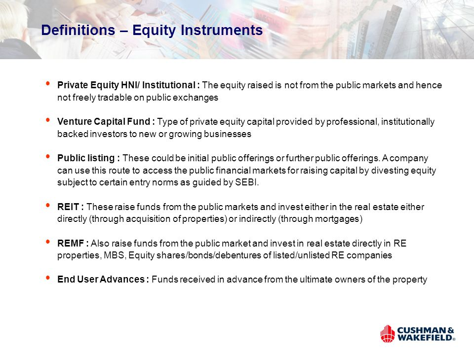 Definitions – Equity Instruments