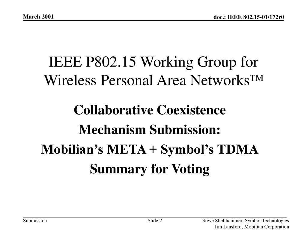 IEEE P Working Group for Wireless Personal Area NetworksTM