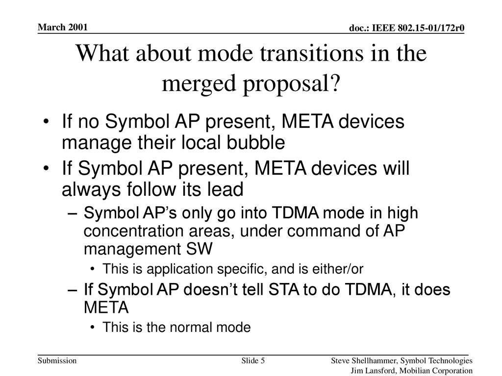 What about mode transitions in the merged proposal
