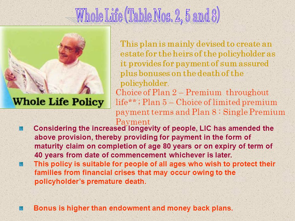 Whole Life (Table Nos. 2, 5 and 8)