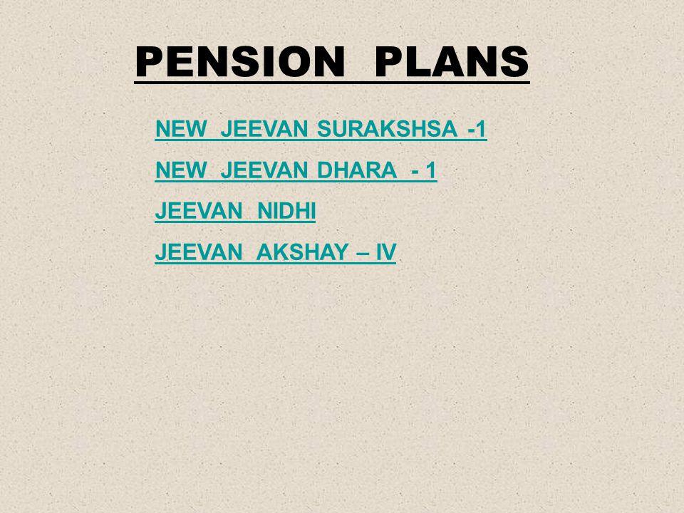 PENSION PLANS NEW JEEVAN SURAKSHSA -1 NEW JEEVAN DHARA - 1