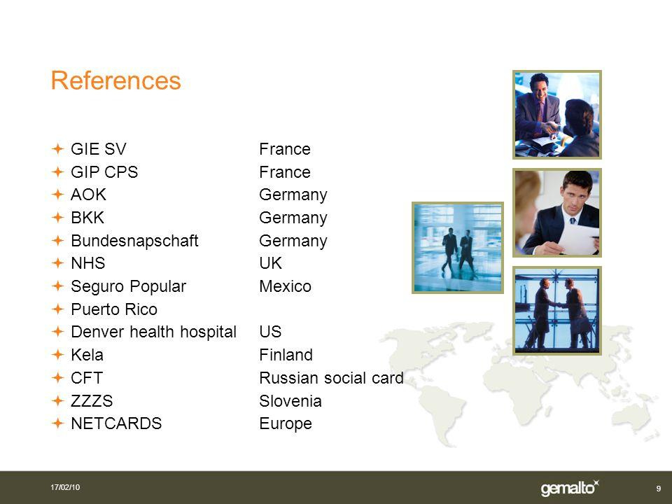 References GIE SV France GIP CPS France AOK Germany BKK Germany